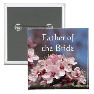 pink cherry blossom flowers father bride pinback button