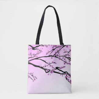Pink Cherry Blossom Flowers Tote Bag