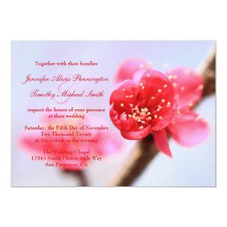 Pink cherry blossom flowers wedding invitation