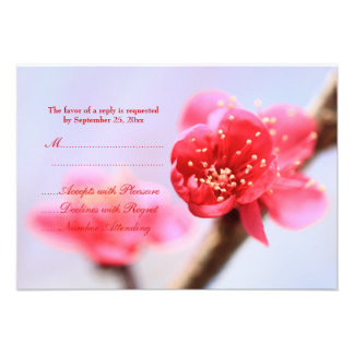 Pink cherry blossom flowers wedding RSVP card Personalized Invitations