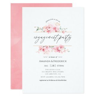 Pink Cherry Blossom Geometric Engagement Party Invitation