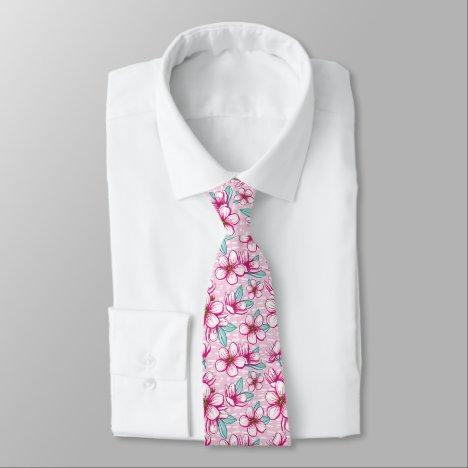 Pink Cherry blossom Hawaiian Aloha Tie