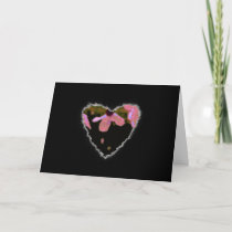 Pink Cherry Blossom Heart Valentine Love Romance cards