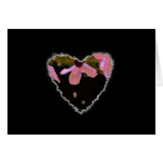 Pink Cherry Blossom Heart Valentine Love Romance Card