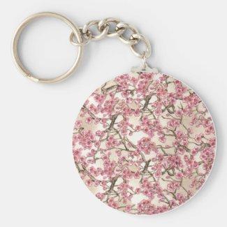 Pink Cherry Blossom Keyring