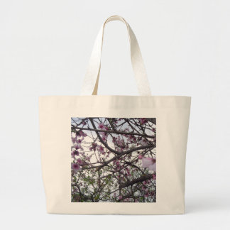 Pink cherry blossom large tote bag