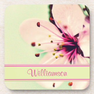 Pink Cherry Blossom on Green Backdrop Personalized Drink Coaster