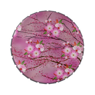 Pink Cherry Blossom Origami Art Candy Tins