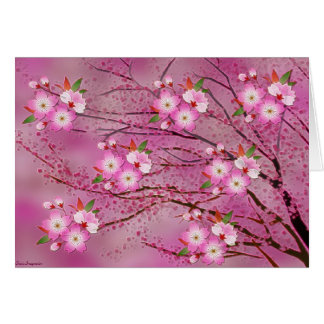 Pink Cherry Blossom Origami Art Greeting Card