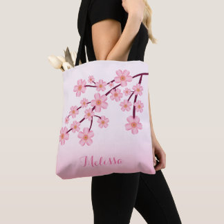 Pink Cherry Blossom Sakura Floral Branch With Name Tote Bag