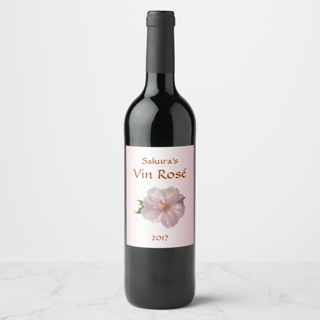 Pink Cherry Blossom Sakura Flower Wine Label