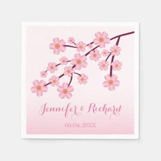 Pink Cherry Blossom Sakura With Names Wedding Napkin