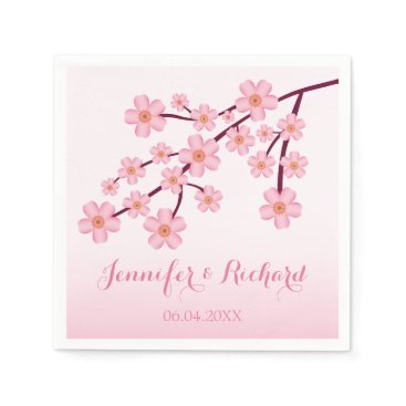 destei Pink Cherry Blossom Sakura With Names Wedding Napkin