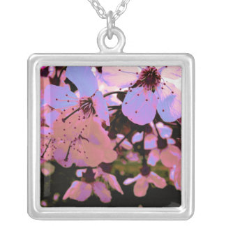Pink Cherry Blossom Silver Plated Necklace