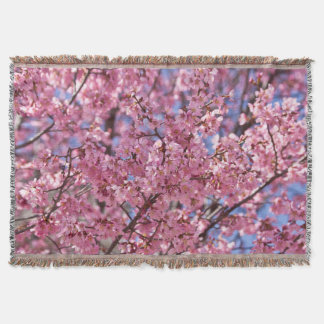 Pink Cherry Blossom Sky Throw Blanket