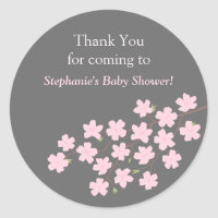 Pink Cherry Blossom Spring Baby Shower Stickers
