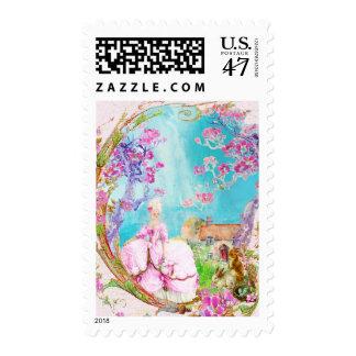 Pink Cherry Blossom Spring Stamp