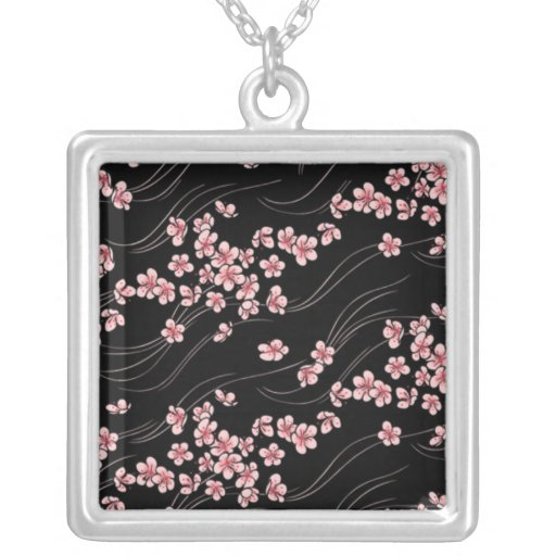 Pink Cherry Blossom Square Pendant Necklace