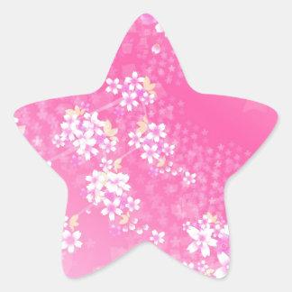 Pink Cherry Blossom Star Sticker