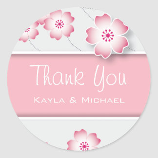 Pink Cherry Blossom Thank You Seals Classic Round Sticker