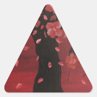 Pink Cherry Blossom Tree Design Art Triangle Sticker