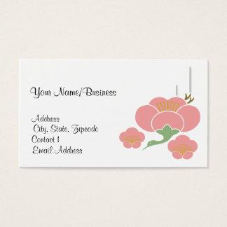 Pink Cherry Blossom (Ume) and Crane Business Card