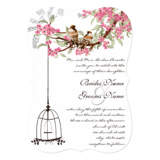 Pink Cherry Blossom Vintage Birds Birdcage Wedding Card