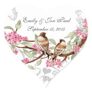 Pink Cherry Blossom Vintage Birds Wedding Stickers zazzle_sticker