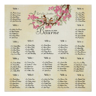 Pink Cherry Blossom Vintage Love Bird Wedding Poster