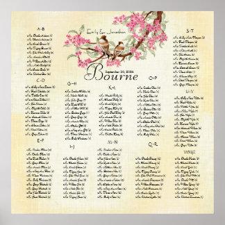 Pink Cherry Blossom Vintage Love Bird Wedding Poster