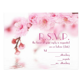 Pink Cherry Blossom Wedding Floral RSVP card Post Cards