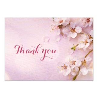 Pink Cherry Blossom Wedding Thank You Cards
