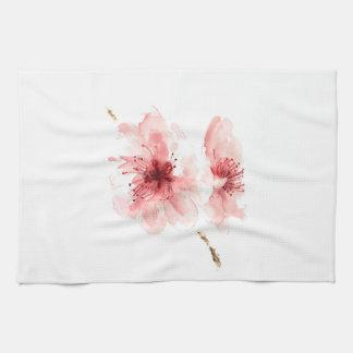 Pink cherry blossom white kitchen towel sakura