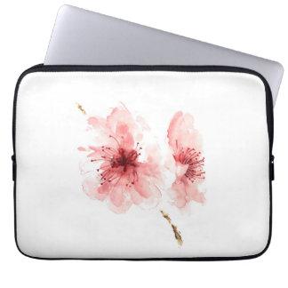Pink cherry blossom white laptop sleeve sakura