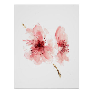 Pink cherry blossom white poster sakura