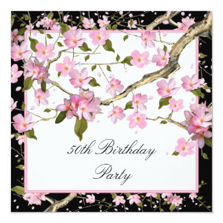 Pink Cherry Blossom Womans 50th Birthday Party Invite