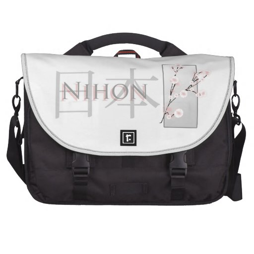 Pink Cherry Blossoms and Text with Kanji: Nihon Laptop Bags