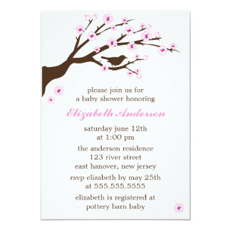 """Pink Cherry Blossoms Baby Shower 5"""" X 7"""" Invitation Card"""