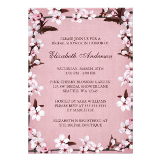 Pink Cherry Blossoms Border Bridal Shower Custom Announcements
