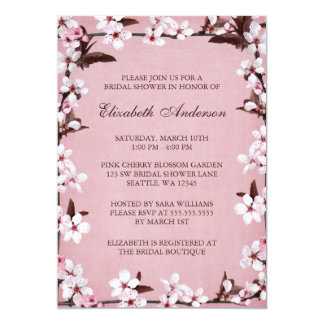 Pink Cherry Blossoms Border Bridal Shower 5x7 Paper Invitation Card