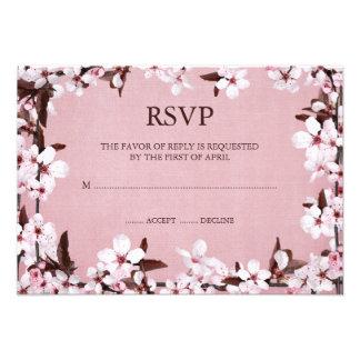 Pink Cherry Blossoms Border RSVP Response Cards Invitation