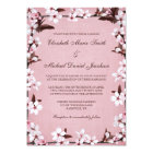 Pink Cherry Blossoms Border Wedding Card