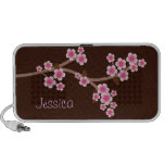 Pink Cherry Blossoms Brown Doodle Speaker