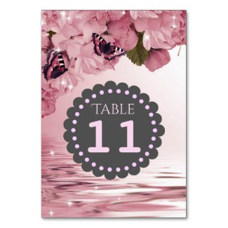 Pink Cherry Blossoms Butterflies Table Number