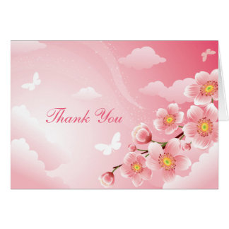Pink Cherry Blossoms Butterfly Thank You Note Card