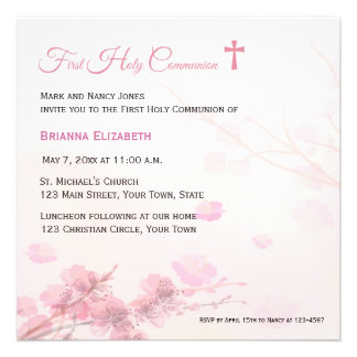 Pink Cherry Blossoms  First Communion Custom Announcement