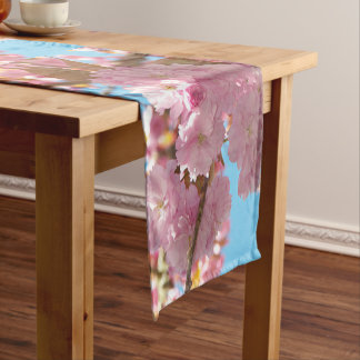 Pink Cherry Blossoms Floral Short Table Runner