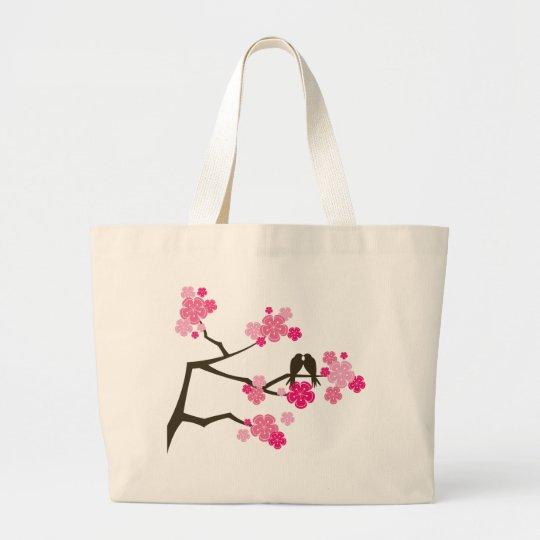 Pink Cherry Blossoms Flowers Love Birds Tote Bag