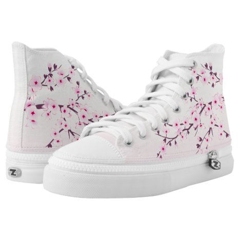 Pink Cherry Blossoms High-Top Sneakers