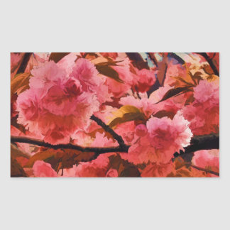 Pink Cherry Blossoms in NYC Rectangular Sticker